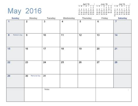 Calendar Printable 2016 Excel May 2016 Printable Calendar Pdf Word Excel