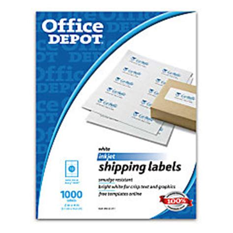 Office Depot Shipping by Office Depot Brand White Inkjet Shipping Labels 2 X 4 Box
