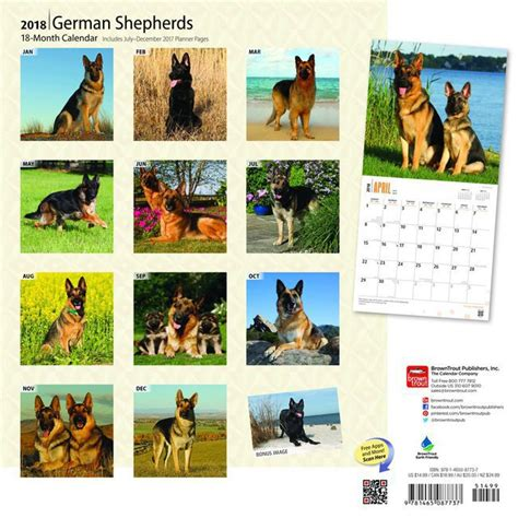 Calendrier Chien 2018 Calendrier 2018 Berger Allemand