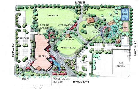 Home Design Open Plan by Spokane Valley Park Library Conceptual Site Plan