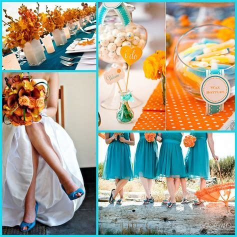 orange and teal coral and tiffany blue green reception