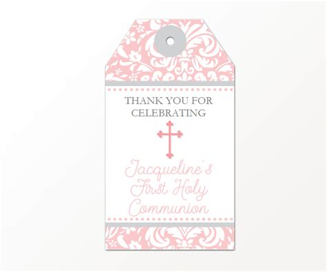 printable gift tags pink first communion favor tags pink