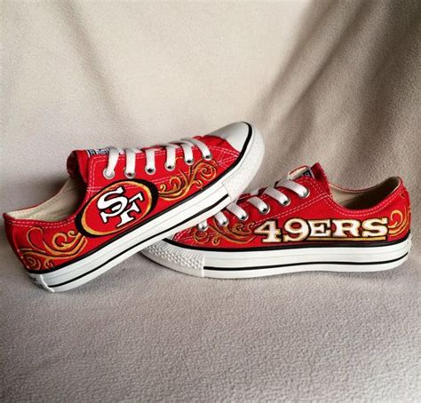 Handmade Shoes San Francisco - custom painted san francisco 49ers converse shoes