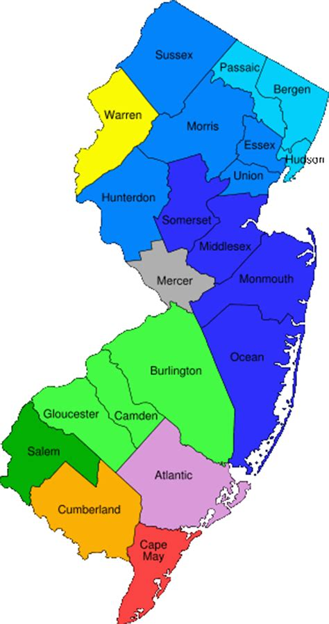nj counties map new jersey maps