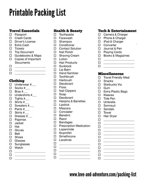 printable travel checklist packing list love adventure travel pinterest