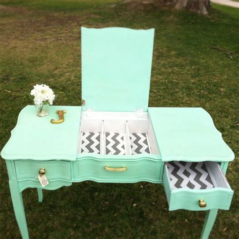 mint green desk chair mint green and chevron desk vanity junktiques furniture