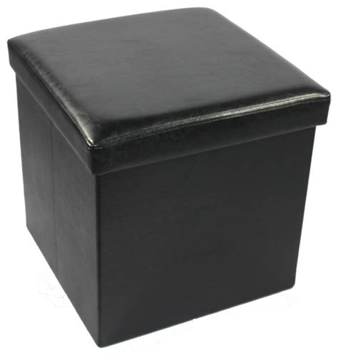 collapsible storage ottoman collapsible storage ottoman faux leather traditional