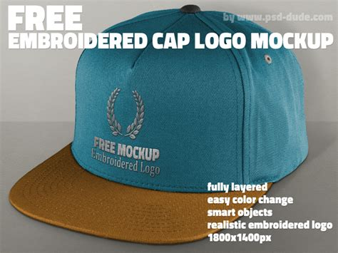 embroidery design mockup free cap mockup psd with realistic embroidered logo psddude