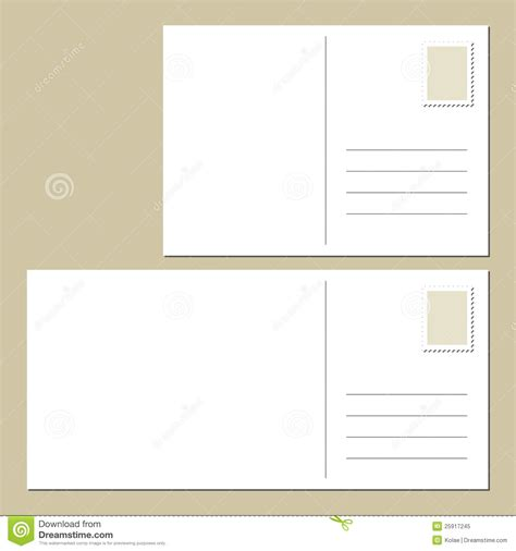 front and back postcard template blank postcard back royalty free stock photo image 25917245