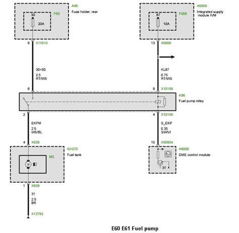 no ground signal on fuel relay e60 2004 530i m54 eng