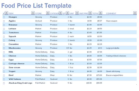 printable grocery list with prices food price list template microsoft excel templates