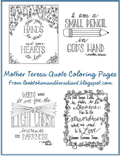 mother teresa saint teresa mother teresa activities look to him and be radiant mother teresa quote coloring pages