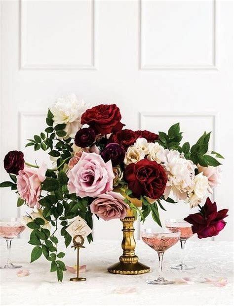 trending  burgundy  blush wedding centerpieces