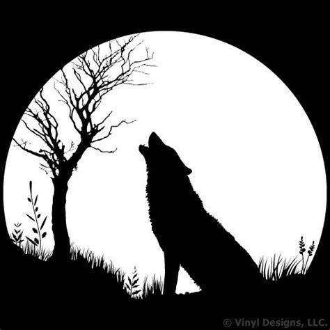 In The Night Garden Wall Stickers wolf howling twilight moon vinyl wall decal sticker art