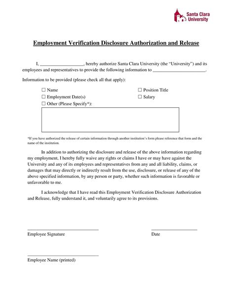 Employee Release Form Employment Verification Release Employment Verification Release Form Template
