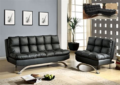 Futon Bed Sets by Black Leather Futon Sofa Bed Chair Set Comfy Pillow Top