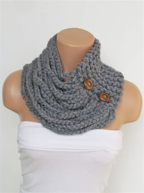 knitted cowl with buttons pattern gray knitted cowl scarf with wooden buttons