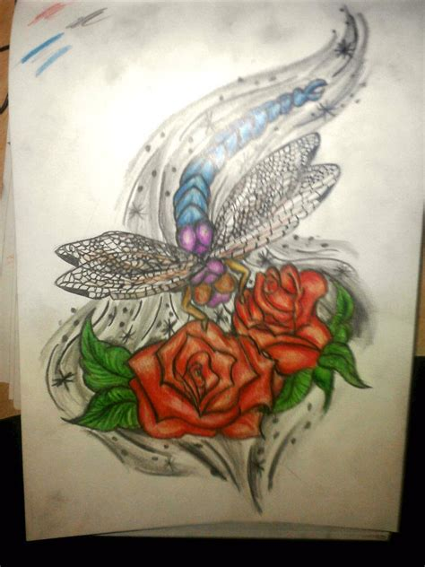 dragonfly and roses by tattoo madd on deviantart