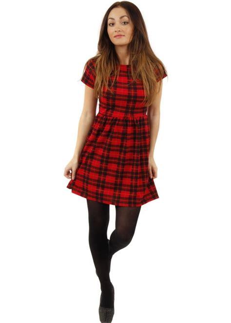 Tartan Mini Dress tartan dress tartan mini dress babydoll skater dress