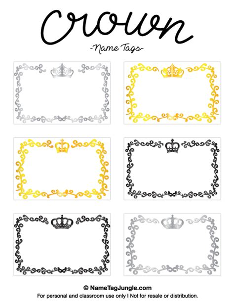 printable crown pdf free printable crown name tags the template can also be