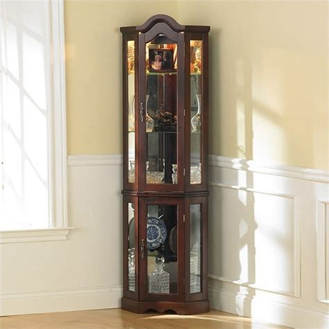 Lighted Corner Curio Cabinet by Southern Enterprises Mahogany Lighted Corner Curio Cabinet
