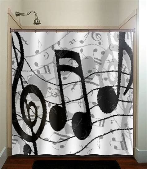 music decor for bedroom treble clef sheet music notes shower curtain unique