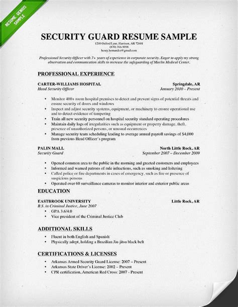 security guard resume sle resume genius