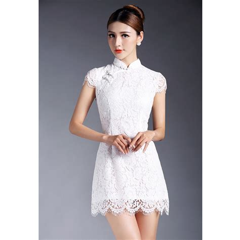 Lace Qipao fabulous lace qipao cheongsam dress white qipao