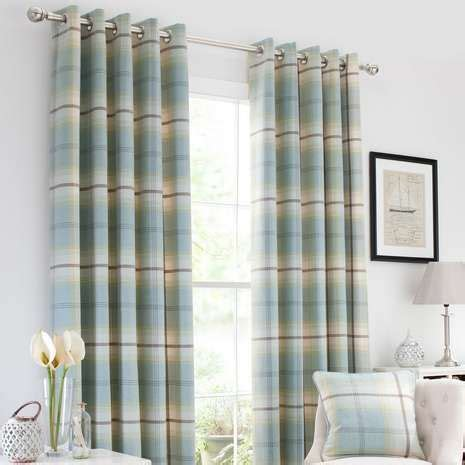 Lined Bedroom Curtains Ready Made Duck Egg Highland Check Lined Eyelet Curtains Bedroom Products Duck Eggs And Ducks