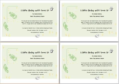babysitting gift voucher template gift certificate template for word document hub