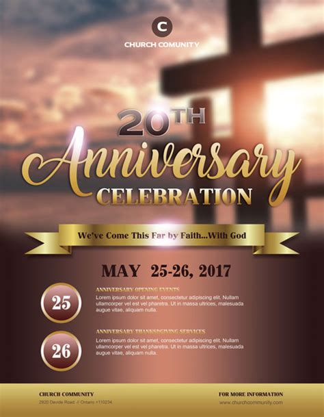 anniversary celebration free church flyer template