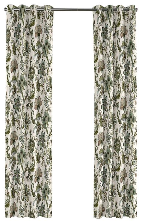 Teal Print Curtains Crewel Print Teal Floral Grommet Curtain Traditional Curtains By Loom Decor