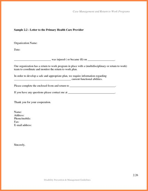 Return To Work Letter Marital Settlements Information Return To Work Doctors Note Template