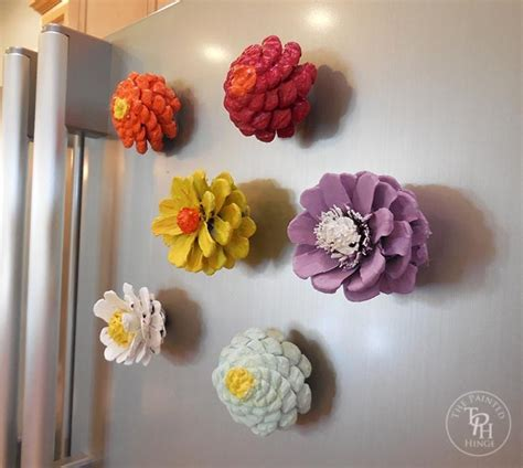 how to make pine cone flowers flower power pinterest pine cone flower refrigerator magnets tutorial