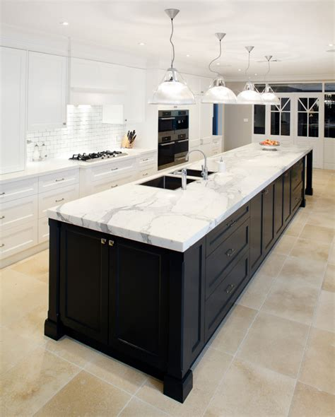 island bench tops kitchens with dark cabinets and calcutta caesarstone bench