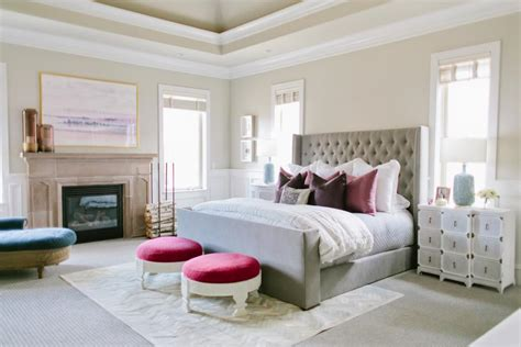 neutral master bedroom with pops of color contemporary tranquil master bedroom suite with fireplace antique