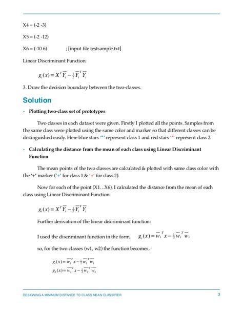 pattern recognition homework pattern recognition designing a minimum distance class