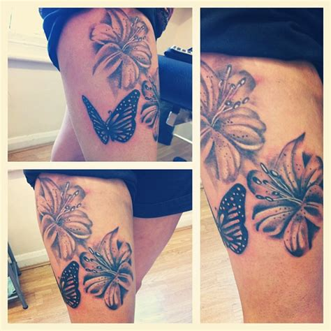 butterfly tattoo thigh hibiscus butterfly tattoo on thigh tattooshunt com