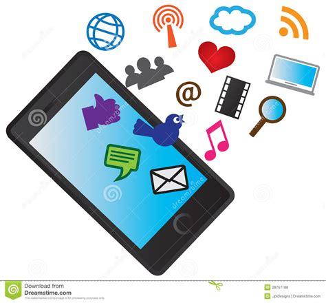 clipart cellulare telefono cellulare mobile con le icone sociali di media