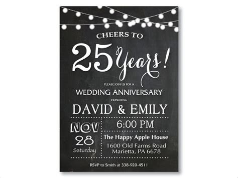 25th anniversary invitation card templates 6 anniversary invitation cards editable psd ai vector