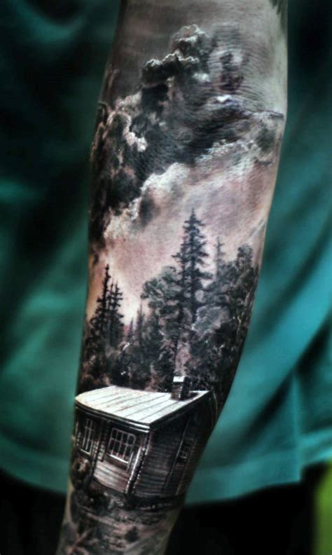 Small Cabin In The Woods by Top 100 Best Sleeve Tattoos For Men Cool Designs And Ideas