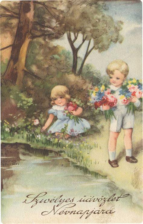 Vintage Gift Card - vintage cards delicate floral sweet children