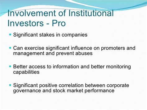 better corporate governance of institutional investors in corporate governance