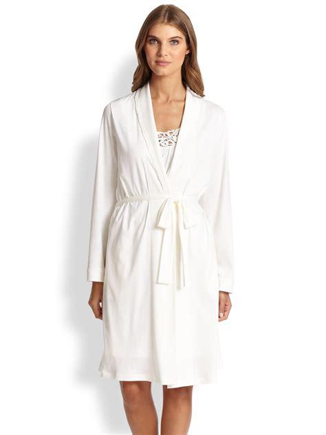 cotton knit robe lyst hanro pima cotton knit robe in white