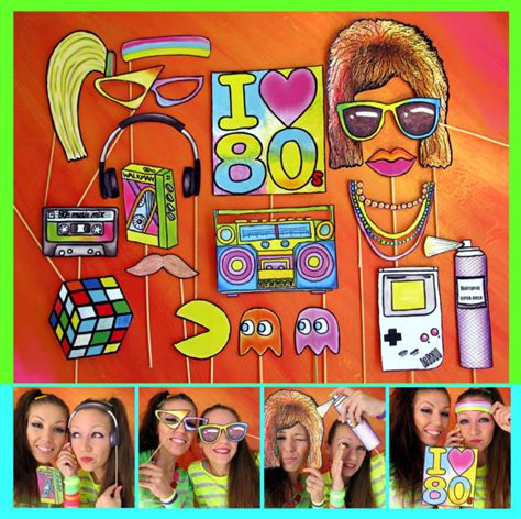 retro 80s party eighties photo booth props perfect for a throw back 80s