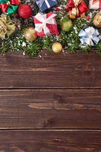 christmas decorations on wooden background photo free