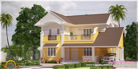 House Design Color Yellow | beautiful yellow color villa elevation in 2350 square feet