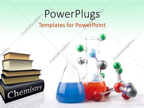 Powerpoint Template Pile Of Chemistry Textbooks With Colored Solutions In Beaker And Molecular Science Templates For Powerpoint