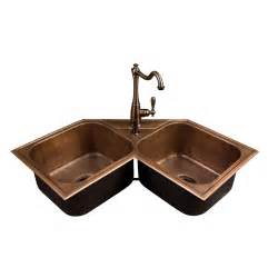 hammered copper bowl drop in corner sink kitchen