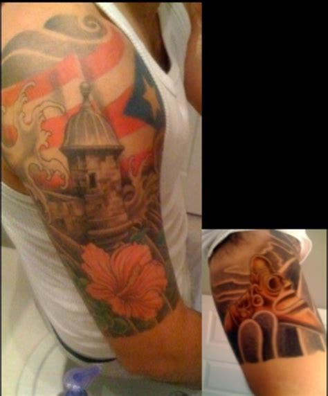 puerto rican tattoos for men amazing flag half sleeve design idea